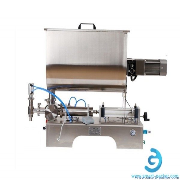 Horizontal pepper paste sauce mixing filling machine single nozzle peanut butter/chili sauce/hot sauce oil filling machine with mixing tank