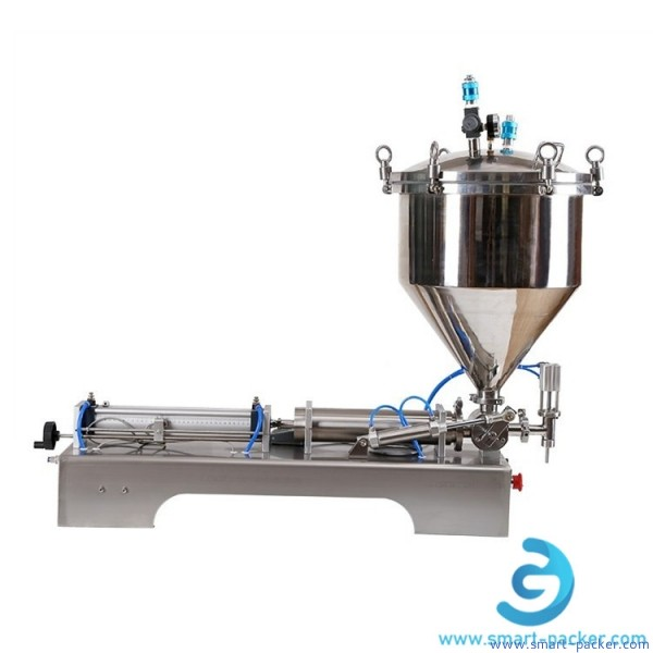 Thick paste filling machine high viscosity hopper tank air pressure butter filling machine semi automatic sticky cosmetic materials nailshoe polish filler equipment