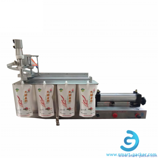 Horizontal stand up bag single nozzle pneumatic filling machine semi automatic jelly bag pouch liquid milk soy bean water self suction filler equipment