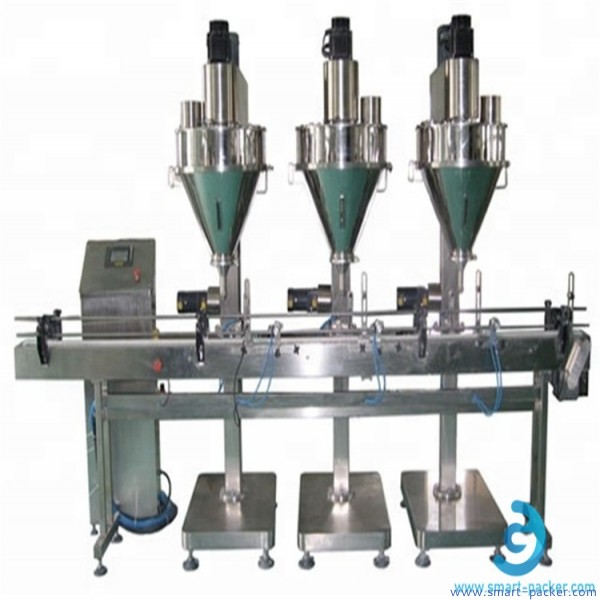 Automatic 3 nozzles linear powder filling machine bottles jars cans vails three station auger filler line with PLC touch creen operaion