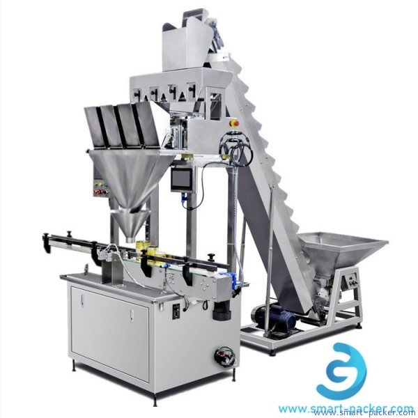 Automatic linear weighing granule particle filling machine coffee bean nut almond dried fruit tea oatmeal bottle can jar weigher filler line