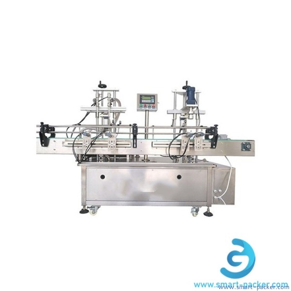 Automatic double heads large bottle lub engine oil filling capping machine anti freeza fluid gear oil olive cooking oil 2 nozzles piston filler capper line
