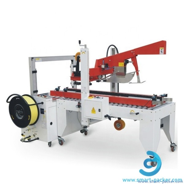 Automatic flaps folding carton box sealing PP belt strapping machine cardboard box case folding strapping packing line