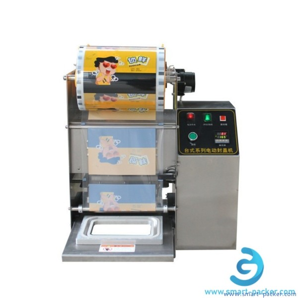Electric driven disposal food tray box bowl film sealing machine semi automatic fast food box fruit tray sealer packaging machine