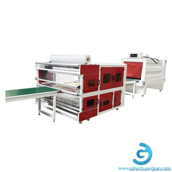 Door window wooden board film wrapping sealing packaging machine with big heating sealing tunnel