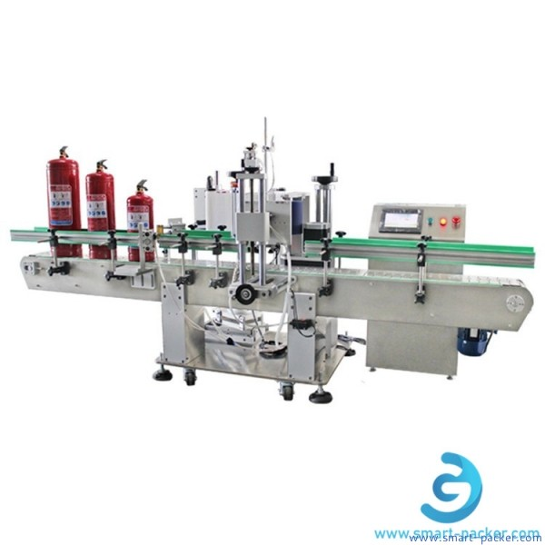 Automatic fire extinguisher labeling machine big round bottle oil drum pail bucket label sticker applicator line with convyor