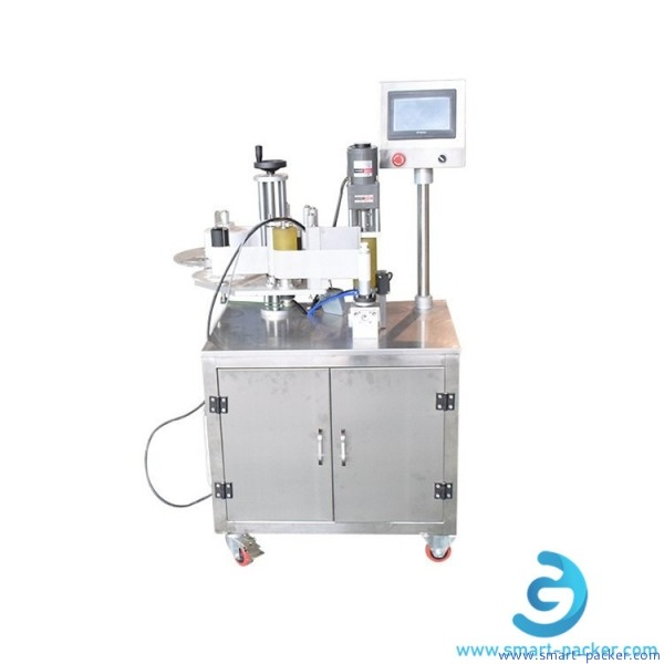 Semi automatic cosmetic soft tube labeling machine single or double side empty tube pipe hose non-drysticker labler applicator