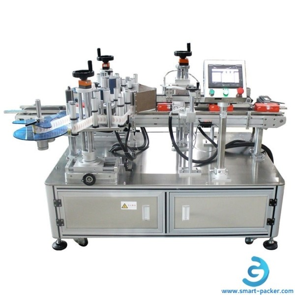 Automatic small carton box double side labeling machine tea cellphoe toy mini carton box food tray bowl two side labeling machine