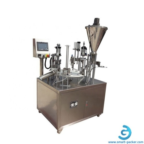 Automatic disposal cup capsule coffee milk powder filling sealing machine rotary cup powder capsule filler sealer packing machine line