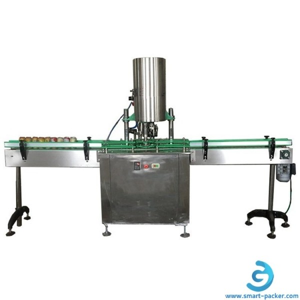 Automatic metal can tin aluminum tin bottle sealing machine with lid feeding system rotary canning sealing packing line