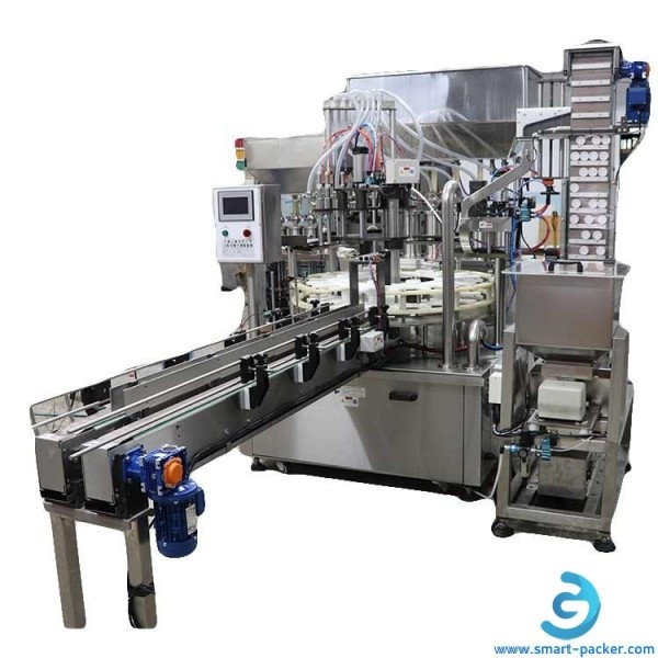 Rotary 6 heads PET bottle filling capping machine