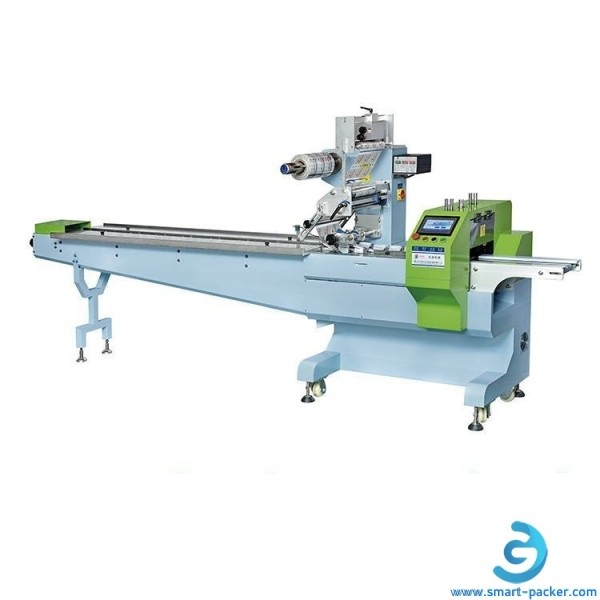 Servo motor driven snack food biscuit cake automatic pillow type back seal bag sachet filling sealing packing machine HFFS bagger equipment