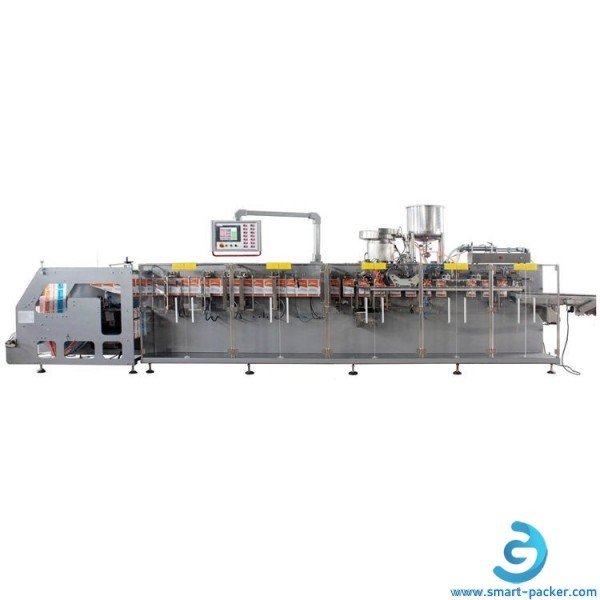 HFFS horizontal tomato ketchup jam paste liquid bag forming filling sealing capping packing machine with cap plug placing feeder bowl