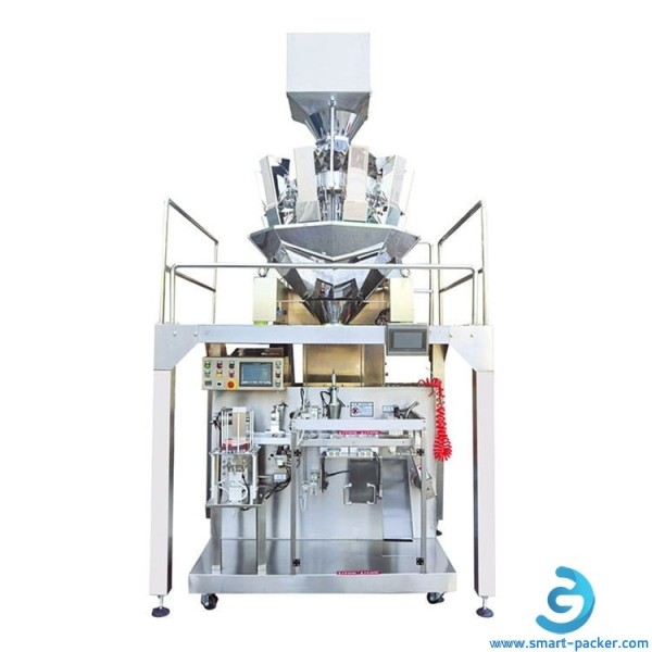 Soft Jelly Granule Chocolate Ball Nuts Seed Chemical particle multi weigher heads automatic horizontal filling sealing bag packing machine