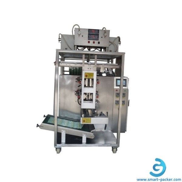 Automatic 10 lanes fruit juicy sauce paste jam food drink liqiud bag filling sealing packing machine with protect cover 4 seal bags