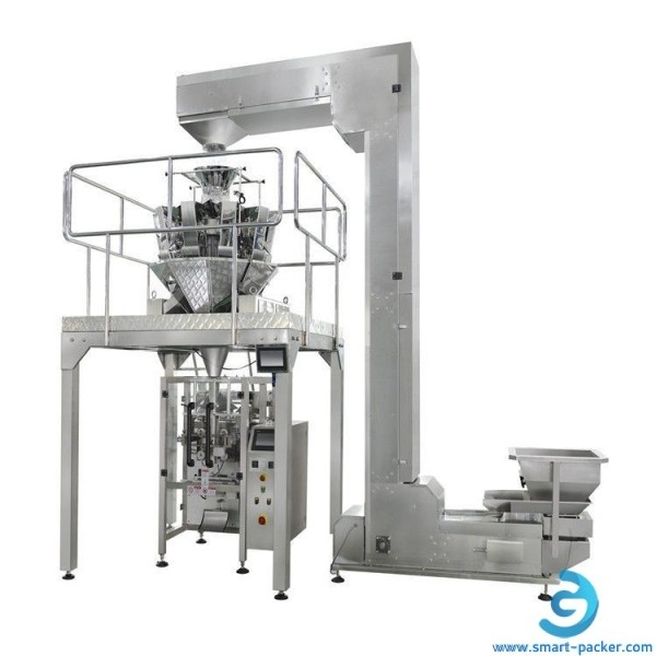 Automatic multi head weigher heads vertical bag film forming filling sealing packaging machine for coffee bean granule dry food chips nuts herbs