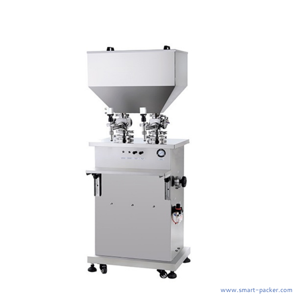 Double heads cream paste filling machine vertical semi automatic filler equipment for cosmetic jars bottles