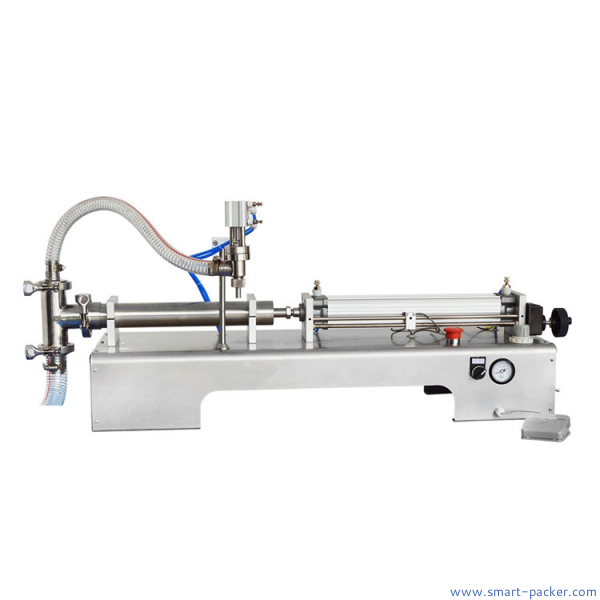 Semi automatic horizontal type piston filler pneumatic Operated Actuator Valve driven liquid lotion shampoo juice filling equipment single head filler with suction hose