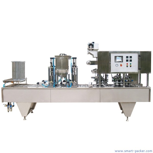 Automatic lineary type 4 lanes food tray sealing machine dumpling fruit meat plastic tray box container sealing machine roll film sealer line with date printing waste film recycling