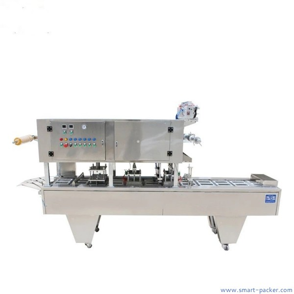 Automatic plastic roll film tray box sealing machine with 2 lanes food container top film heat sealing packing machine